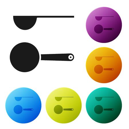 Black Measuring spoon icon isolated on white background. Set icons colorful circle buttons. Vector Illustration
