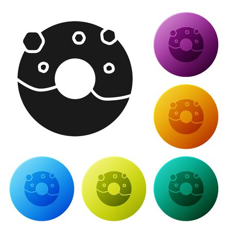 Black Donut with sweet glaze icon isolated on white background. Set icons colorful circle buttons. Vector Illustration