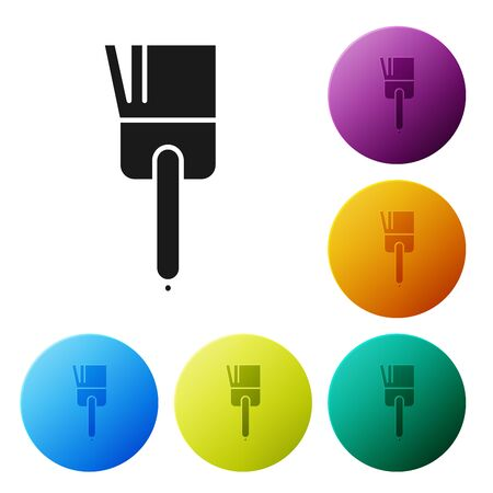 Black Kitchen brush icon isolated on white background. Set icons colorful circle buttons. Vector Illustration Ilustrace