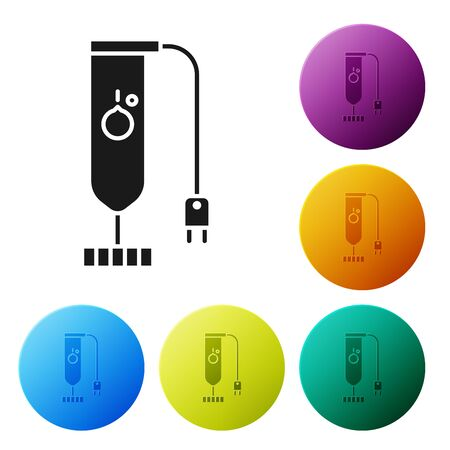 Black Blender icon isolated on white background. Kitchen electric stationary blender. Cooking smoothies, cocktail or juice. Set icons colorful circle buttons. Vector Illustration