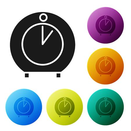 Black Kitchen timer icon isolated on white background. Cooking utensil. Set icons colorful circle buttons. Vector Illustration