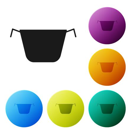Black Cooking pot icon isolated on white background. Boil or stew food symbol. Set icons colorful circle buttons. Vector Illustration Çizim