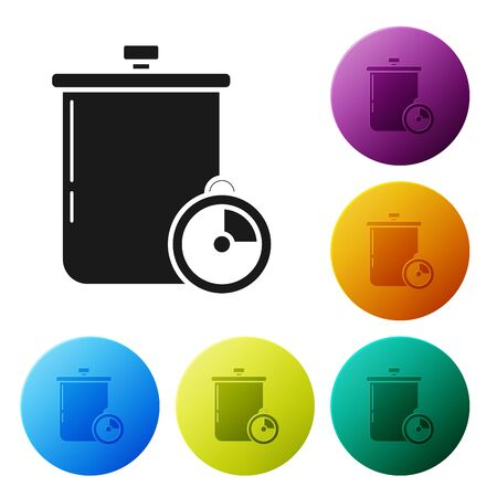 Black Cooking pot and kitchen timer icon isolated on white background. Boil or stew food symbol. Set icons colorful circle buttons. Vector Illustration