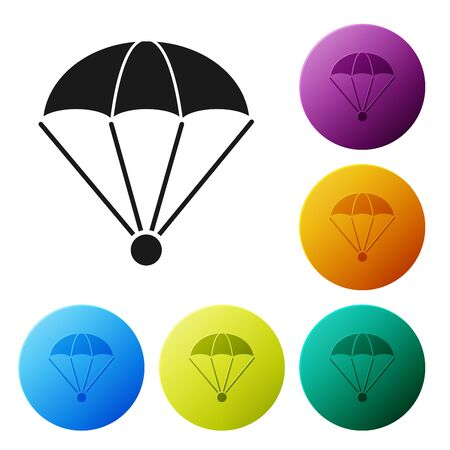 Black Parachute icon isolated on white background. Set icons colorful circle buttons. Vector Illustration