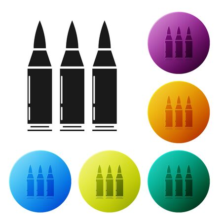 Black Bullet icon isolated on white background. Set icons colorful circle buttons. Vector Illustration