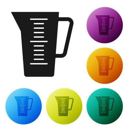 Black Measuring cup to measure dry and liquid food icon isolated on white background. Plastic graduated beaker with handle. Set icons colorful circle buttons. Vector Illustration