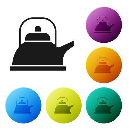 Zwarte waterkoker met handvat pictogram geïsoleerd op een witte achtergrond. Theepot icoon. Set pictogrammen kleurrijke cirkel knoppen. vectorillustratie Vector Illustratie