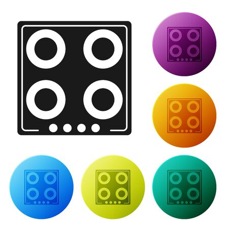Black Gas stove icon isolated on white background. Cooktop sign. Hob with four circle burners. Set icons colorful circle buttons. Vector Illustration
