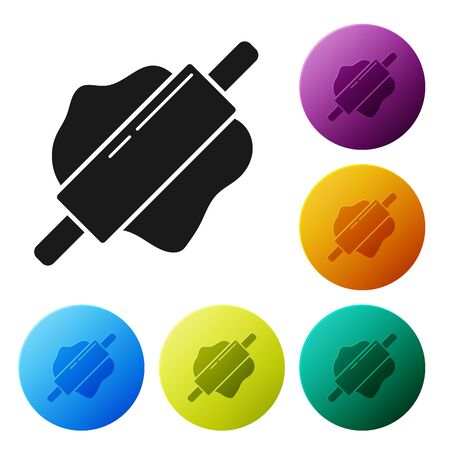 Black Rolling pin icon isolated on white background. Set icons colorful circle buttons. Vector Illustration