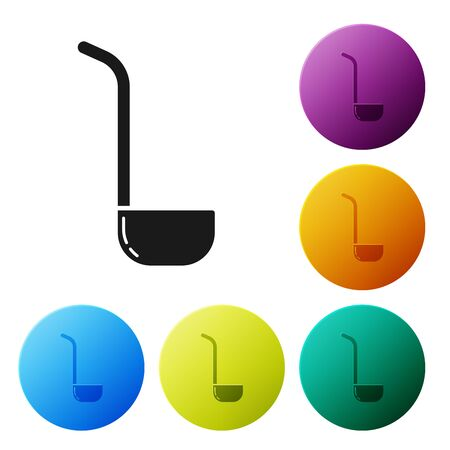 Black Kitchen ladle icon isolated on white background. Cooking utensil. Cutlery spoon sign. Set icons colorful circle buttons. Vector Illustration