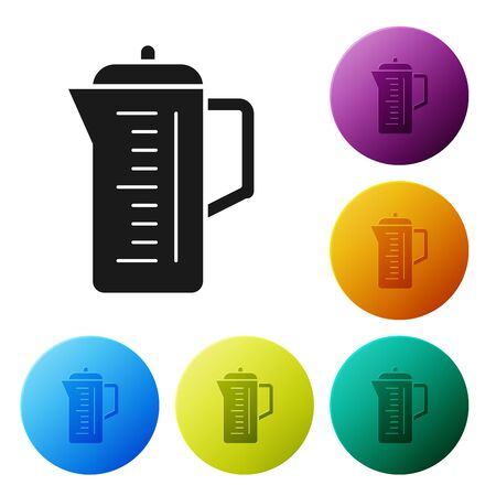 Black Teapot icon isolated on white background. Set icons colorful circle buttons. Vector Illustration