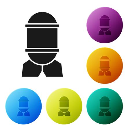 Black Aviation bomb icon isolated on white background. Rocket bomb flies down. Set icons colorful circle buttons. Vector Illustration