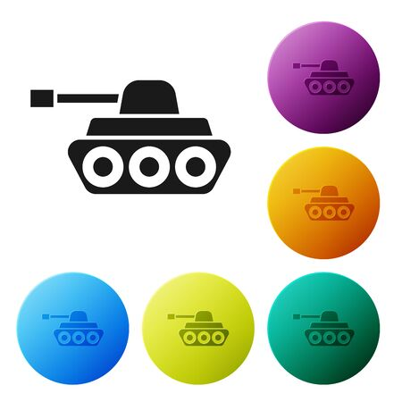 Black Military tank icon isolated on white background. Set icons colorful circle buttons. Vector Illustration