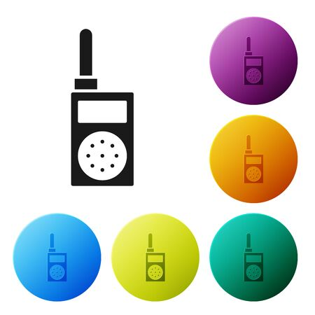 Black Walkie talkie icon isolated on white background. Portable radio transmitter icon. Radio transceiver sign. Set icons colorful circle buttons. Vector Illustration