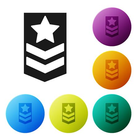 Black Chevron icon isolated on white background. Military badge sign. Set icons colorful circle buttons. Vector Illustration Banque d'images - 132089182