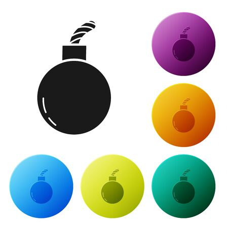 Black Bomb ready to explode icon isolated on white background. Set icons colorful circle buttons. Vector Illustration Ilustração