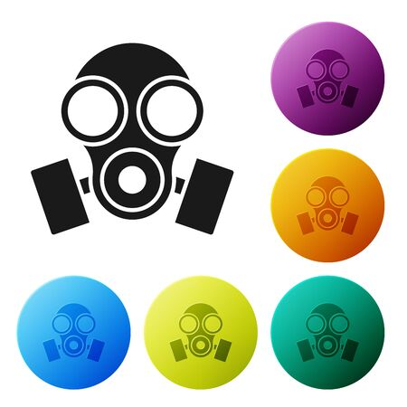Black Gas mask icon isolated on white background. Respirator sign. Set icons colorful circle buttons. Vector Illustration