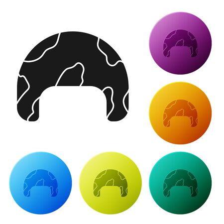 Black Military helmet icon isolated on white background. Army hat symbol of defense and protect. Protective hat. Set icons colorful circle buttons. Vector Illustration