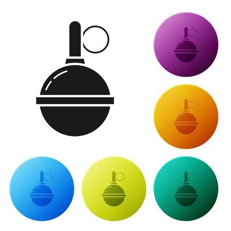 Black Hand grenade icon isolated on white background. Bomb explosion. Set icons colorful circle buttons. Vector Illustration Imagens - 132089196