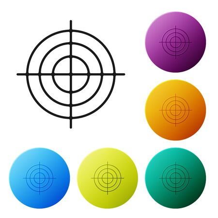 Black Target sport for shooting competition icon isolated on white background. Clean target with numbers for shooting range or shooting. Set icons colorful circle buttons. Vector Illustration