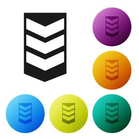 Black Military rank icon isolated on white background. Military badge sign. Set icons colorful circle buttons. Vector Illustration Banque d'images - 132089201