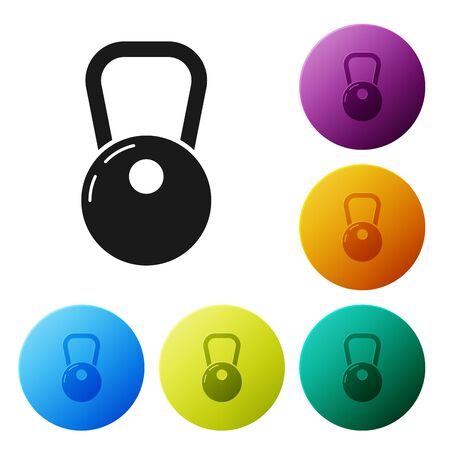 Black Kettlebell icon isolated on white background. Set icons colorful circle buttons. Vector Illustration