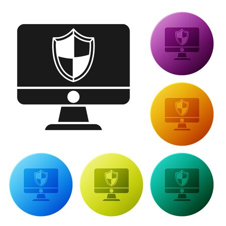 Black Computer monitor and shield icon isolated on white background. Security, firewall technology, internet privacy safety or antivirus. Set icons colorful circle buttons. Vector Illustration Ilustração