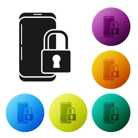 Black Smartphone with closed padlock icon isolated on white background. Phone with lock. Mobile security, safety, protection concept. Set icons colorful circle buttons. Vector Illustration
