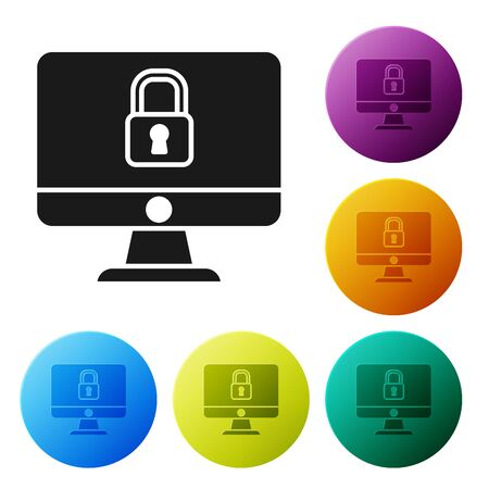 Black Lock on computer monitor screen icon isolated on white background. Security, safety, protection concept. Safe internetwork. Set icons colorful circle buttons. Vector Illustration