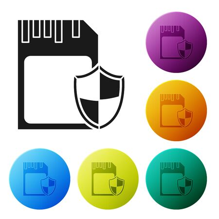 Black SD card and shield icon isolated on white background. Memory card. Adapter icon. Security, safety, protection, privacy concept. Set icons colorful circle buttons. Vector Illustration