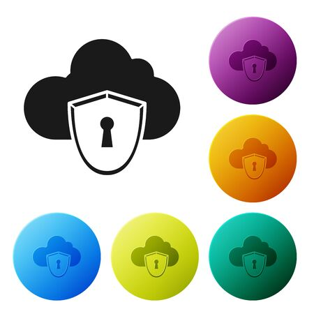 Black Cloud and shield icon isolated on white background. Cloud storage data protection. Security, safety, protection, privacy concept. Set icons colorful circle buttons. Vector Illustration