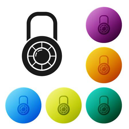 Black Safe combination lock wheel icon isolated on white background. Combination padlock. Security, safety, protection, password, privacy. Set icons colorful circle buttons. Vector Illustration Stockfoto - 132089231