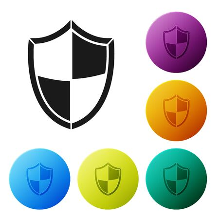 Black Shield icon isolated on white background. Guard sign. Security, safety, protection, privacy concept. Set icons colorful circle buttons. Vector Illustration Ilustração