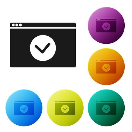 Black Secure your site with HTTPS, SSL icon isolated on white background. Internet communication protocol. Set icons colorful circle buttons. Vector Illustration Çizim