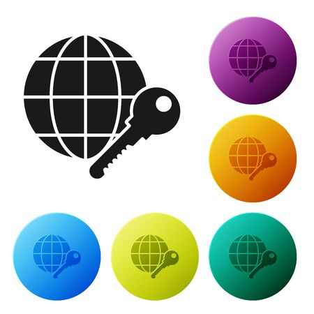 Black Globe key icon isolated on white background. Set icons colorful circle buttons. Vector Illustration Çizim