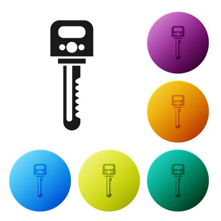Black Key icon isolated on white background. Set icons colorful circle buttons. Vector Illustration Stockfoto - 132080703