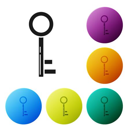 Black Key icon isolated on white background. Set icons colorful circle buttons. Vector Illustration Stockfoto - 132081555