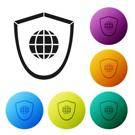 Black Shield with world globe icon isolated on white background. Security, safety, protection, privacy concept. Set icons colorful circle buttons. Vector Illustration