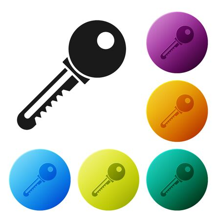 Black Key icon isolated on white background. Set icons colorful circle buttons. Vector Illustration