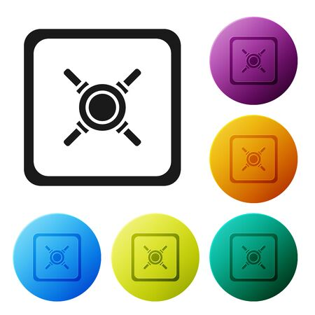 Black Safe icon isolated on white background. The door safe a bank vault with a combination lock. Reliable Data Protection. Set icons colorful circle buttons. Vector Illustration