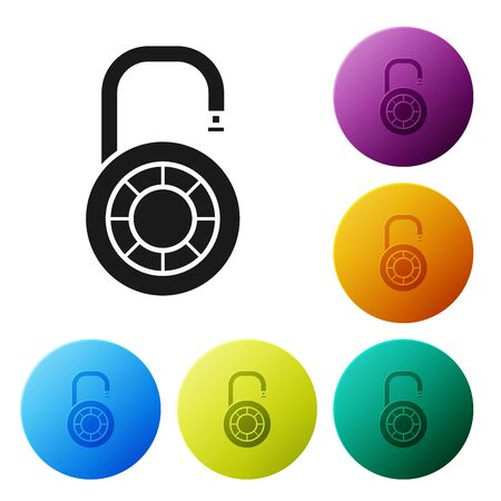 Black Safe combination lock wheel icon isolated on white background. Combination padlock. Security, safety, protection, password, privacy. Set icons colorful circle buttons. Vector Illustration Stockfoto - 132089238