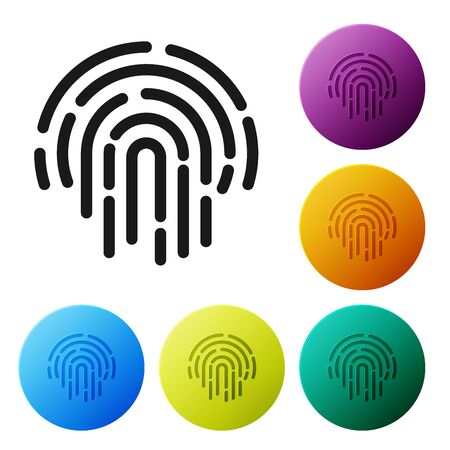 Black Fingerprint icon isolated on white background. ID app icon. Identification sign. Touch id. Set icons colorful circle buttons. Vector Illustration