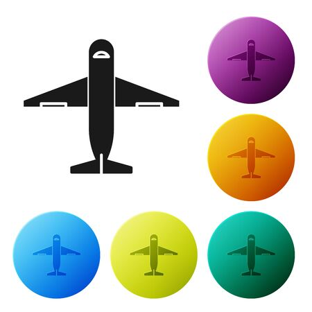 Black Plane icon isolated on white background. Delivery, transportation. Cargo delivery by air. Airplane with parcels, boxes. Set icons colorful circle buttons. Vector Illustration Stockfoto - 132089243
