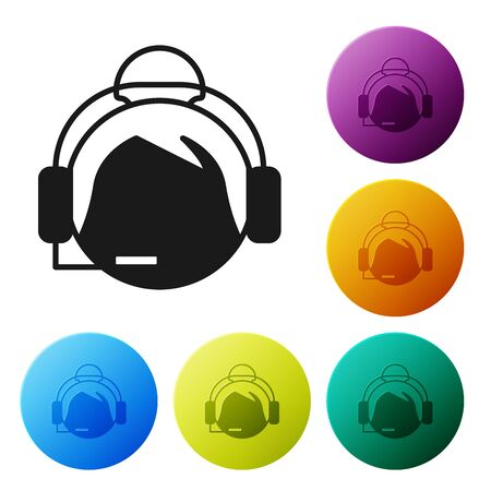 Black Woman with a headset icon isolated on white background. Support operator in touch. Concept for call center, client support service. Set icons colorful circle buttons. Vector Illustration