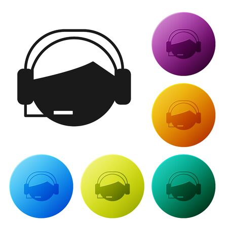 Black Man with a headset icon isolated on white background. Support operator in touch. Concept for call center, client support service. Set icons colorful circle buttons. Vector Illustration Çizim