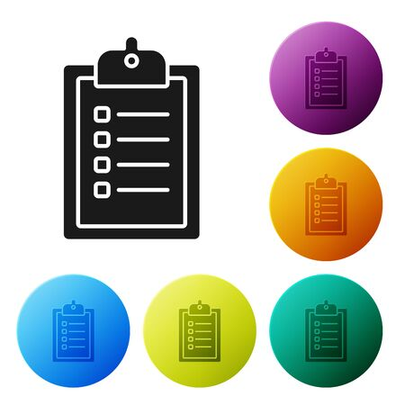 Black Verification of delivery list clipboard icon isolated on white background. Set icons colorful circle buttons. Vector Illustration