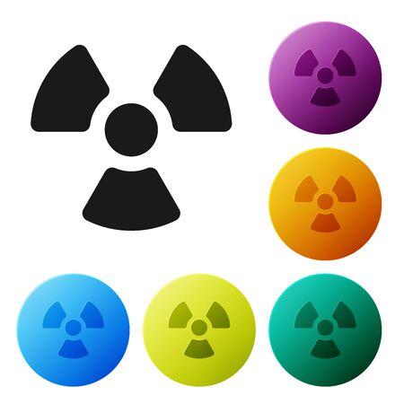 Black Radioactive icon isolated on white background. Radioactive toxic symbol. Radiation Hazard sign. Set icons colorful circle buttons. Vector Illustration