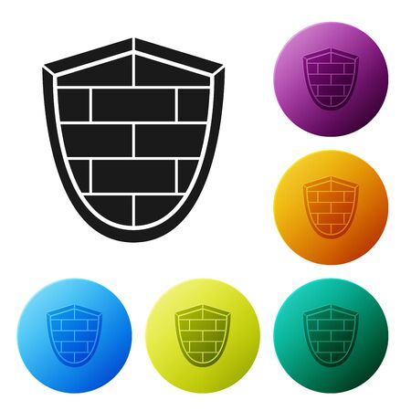 Black Shield with cyber security brick wall icon isolated on white background. Data protection symbol. Firewall Network protection. Set icons colorful circle buttons. Vector Illustration Illusztráció