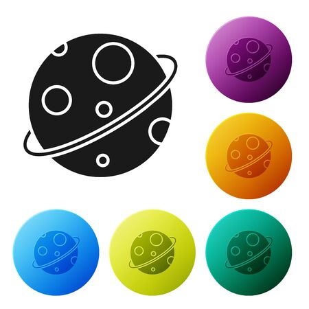 Black Planet icon isolated on white background. Set icons colorful circle buttons. Vector Illustration