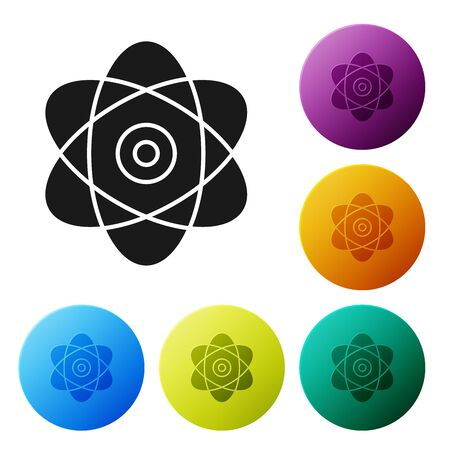 Black Atom icon isolated on white background. Symbol of science, education, nuclear physics, scientific research. Electrons and protons sign. Set icons colorful circle buttons. Vector Illustration